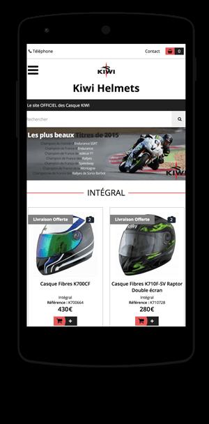 kiwi-helmets.com en version mobile est réalisé avec epro shopping
