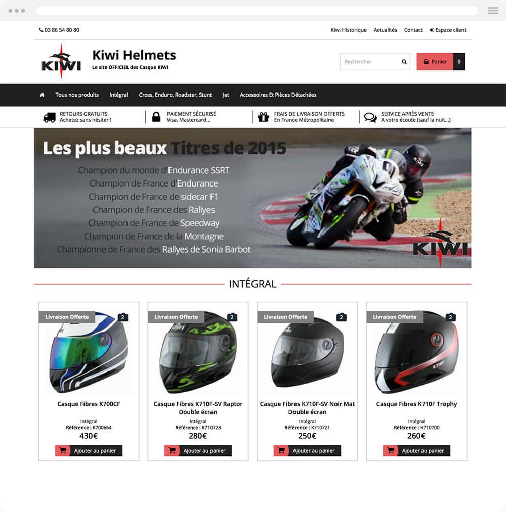 kiwi-helmets.com est réalisé avec epro shopping