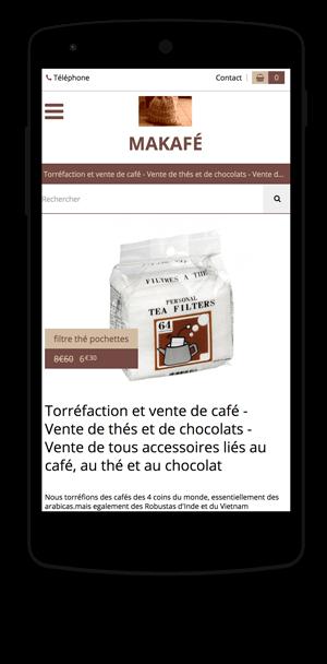 makafe.fr en version mobile est réalisé avec epro shopping