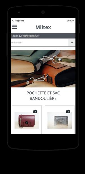 miltex.fr en version mobile est réalisé avec epro shopping
