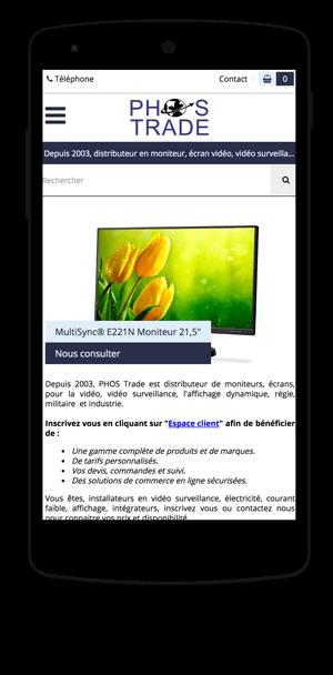 phos-trade.com en version mobile est réalisé avec epro shopping