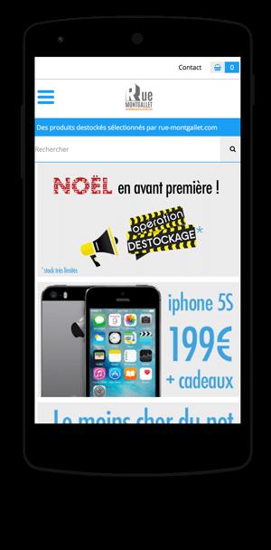 destockage.rue-montgallet.com en version mobile est réalisé avec epro shopping