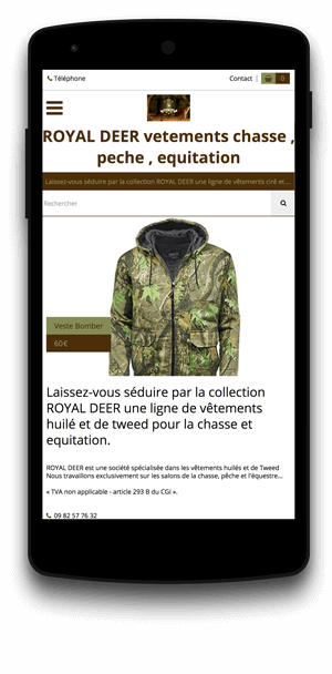 royal-deer.eproshopping.fr en version mobile est réalisé avec epro shopping