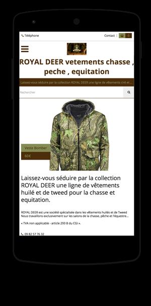royal-deer.eproshopping.fr en version mobile est réalisé avec epro shopping